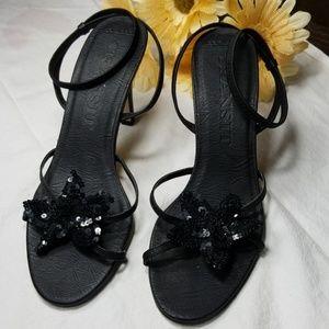 Women's Transit New York Black Sequin flower heels